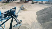 dumper : Tractor moves sand on extraction site. Stock Footage