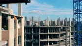 high rise buildings : Bricks and concrete building is being constructed Stock Footage