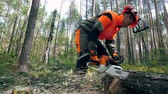 cirkelzaag : Worker in uniform cuts a tree trunk with a chainsaw.