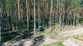 tala : Woods harvesting site with a working machine on it. Deforestation, forest cut concept.