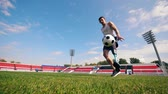 drible : Stadium with a handicapped man playing with a ball Stock Footage