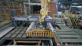 партия : Factory machine moves bricks pallets in a facility. Стоковые видеозаписи