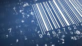 array : barcode scanner by barcode reader. Closeup on array of digits. chaos digits. Animating background hexadecimal code Stock Footage