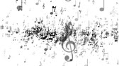 White background of music notes Стоковые видеозаписи