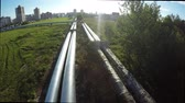 steel : Fly over the pipes. aerial survey. Old pipes