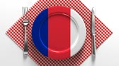 zupa rybna : French cuisine France flag on a plate. Dishes made in France.