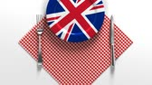 lábas : National dishes of United Kingdom of England. Delicious recipes from Europe. Flag on a plate with food from United Kingdom of England.