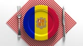 tatarak : National dishes of Andorra. Delicious recipes from Europe. Flag on a plate with food from Andorra.
