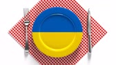 beterraba : National dishes of Ukraine. Delicious recipes from Europe. Flag on a plate with food from Ukraine.