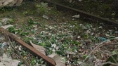 мусор : garbage and plastic bottles are lying on the ground, environmental pollution