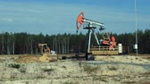 pumpjack : Extraction of petroleum by Pumpjacks on an oil well in Russia