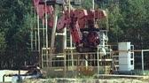 pumpjack : The overground drive for a reciprocating piston pump in an oil well Stock Footage