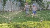 fidedigno : Happy childhood concept. Watering systems. Vídeos