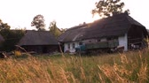 medeniyet : Old rural houses, beautiful courtyard. Carpathian Ukraine. Village household with house, stable and lorry car on the front yard. Eco living, Living far from metropolis.