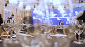 rychlý : Catering concept. Waiters set tables for party, business meeting. Expensive kosher catering. Catering service background. Setting tables for party, dinner, special event, wedding. Time lapse