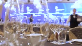 Catering concept. Waiters set tables for party, business meeting. Expensive kosher catering. Catering service background. Setting tables for party, dinner, special event, wedding. Time lapse