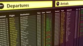 terörizm : Flights change to canceled on arrival and departures sign board, bad weather Stok Video