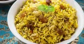 curry : Arab rice, Ramadan food in middle east usually served with tandoor lamb. Middle eastern food. 4k footage video.