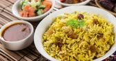 plov : Arab rice, Ramadan food in middle east usually served with tandoor lamb. Middle eastern food. 4k footage video.