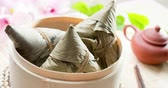 sticky : Asian glutinous dumplings, 4k footage video. Stock Footage