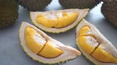 segmento : Malaysia famous fruits durian musang king, sweet golden creamy flesh.