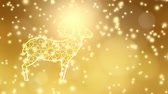 eid ul kurba : Ornamental illuminated sheep with falling lights, festive golden glittering background. Animation for muslim Eid ul adha celebration. HD footage Stock Footage