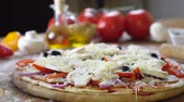 recipe : prepearing tasty homemade pizza with fresh vegetables