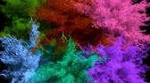 holi : Different colored powder explosions Stock Footage