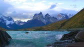 torres : View of Cuemos Del Paine at Lake Pehoe in the Torres Del Paine National Park, Chile Vídeos