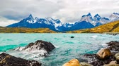 torres : View of Cuernos del Paine and Lake Pehoe in the evening Timelapse