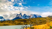 torres : View of beautiful mountain in Torres Paine National Park, Chile, Time lapse