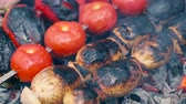 chargrilled : Vegetable skewers on barbecue grill. Stock Footage