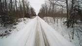 kaygan : Tracking backwards down a country road in winter