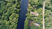 The Muskoka River seen from 400 feet above Stock Footage