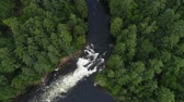 A tilt from a waterfall on the Muskoka River Stock Footage