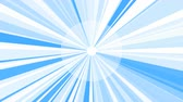 White Sunburst Starburst rays background. Rotating Sun ray animation background. Animated shining sun against bright blue sky