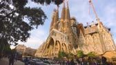 Barcelona,Spain.September 2017:Timelapse view of lots of tourist taking photos and visiting the Sagrada Familia designed by the Architect Antonio Gaudi.Recieves more than 4 million visitors every year