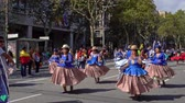음악 : Barcelona, Spain. 12 October 2019: Bolivian Moreno dancers during Dia de la Hispanidad in Barcelona. 무비클립