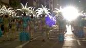 음악 : Popular Carnival rua with comparsers in costumes dancing 무비클립