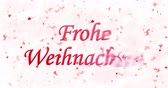 weihnachten : Merry Christmas text in German Froh Weihnachten formed from dust and to dust turns horizontally on white background animated