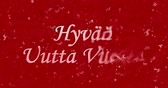 carmesim : Happy New Year text in Finnish Hyvä to uutta in vuoti turns to dust from bottom on red animated background Vídeos
