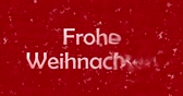 weihnachten : Merry Christmas text in German Froh Weihnachten formed from dust and to dust horizontally turns on red animated background