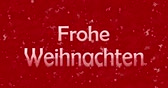 weihnachten : Merry Christmas text in German Froh Weihnachten turns to dust from bottom on red animated background