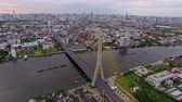 praya : detail of Rama 8 suspension bridge in Bangkok city Thailand, aerial shot