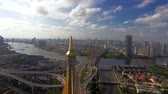 praya : Industrial Ring suspension bridge in Bangkok city Thailand, aerial shot
