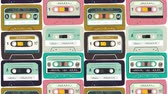 cassete : Motion illustration. Old audio cassette background. Moving bright cartoon mix tapes. Retro wave 2D animation. Perfect background for back to 80s 90s nostalgical party, music event, festival, blog. Vídeos