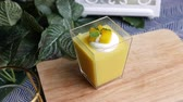 pudding dishes : Mango Pudding. Mango Panna cotta a rich and silky dessert served in clear cup.