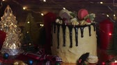 żurawina : Cake for Christmas and winter holidays. Set on wooden dinner table with Christmas decorations.
