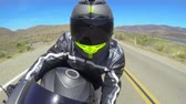 road : POV Man Riding Motorcycle Stock Footage