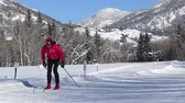 fitness : Woman Cross Country Skiing In Winter Sport HD